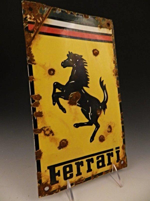 Vintage Ferrari Porcelain Dealer Sign