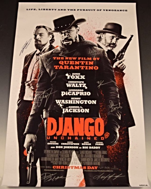 Django Unchained Cast Signed Movie Poster