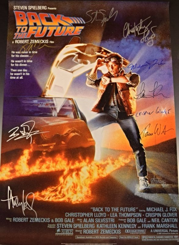 Back To The Future Cast Signed Movie Poster