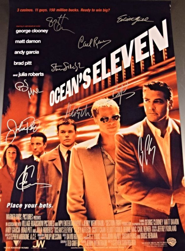 Oceans Eleven Cast Signed Movie Poster