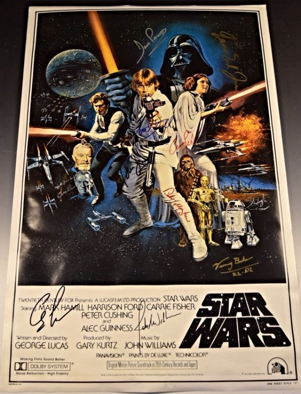 1977 Star Wars Cast Signed Movie Poster