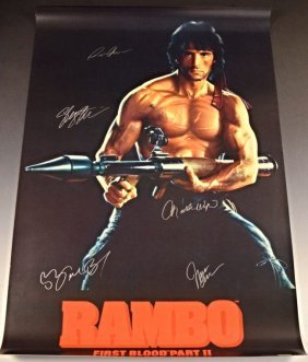 Rambo Cast Signed Movie Poster