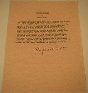 Raphael Soyer Signed Letter