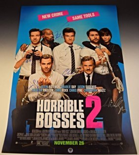 Horrible Bosses 2 Cast Signed Premiere Movie Poster