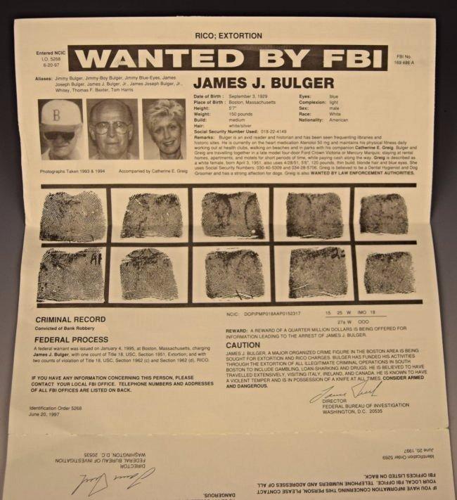 James Whitey Bulger Wanted Poster - 4