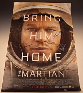 The Martian Cast Signed Premiere Movie Poster