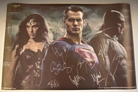 Batman Vs Superman Cast Signed Movie Poster