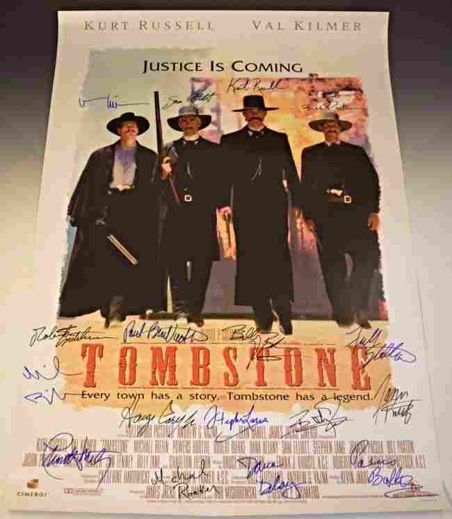 Tombstone Cast Signed Movie Poster