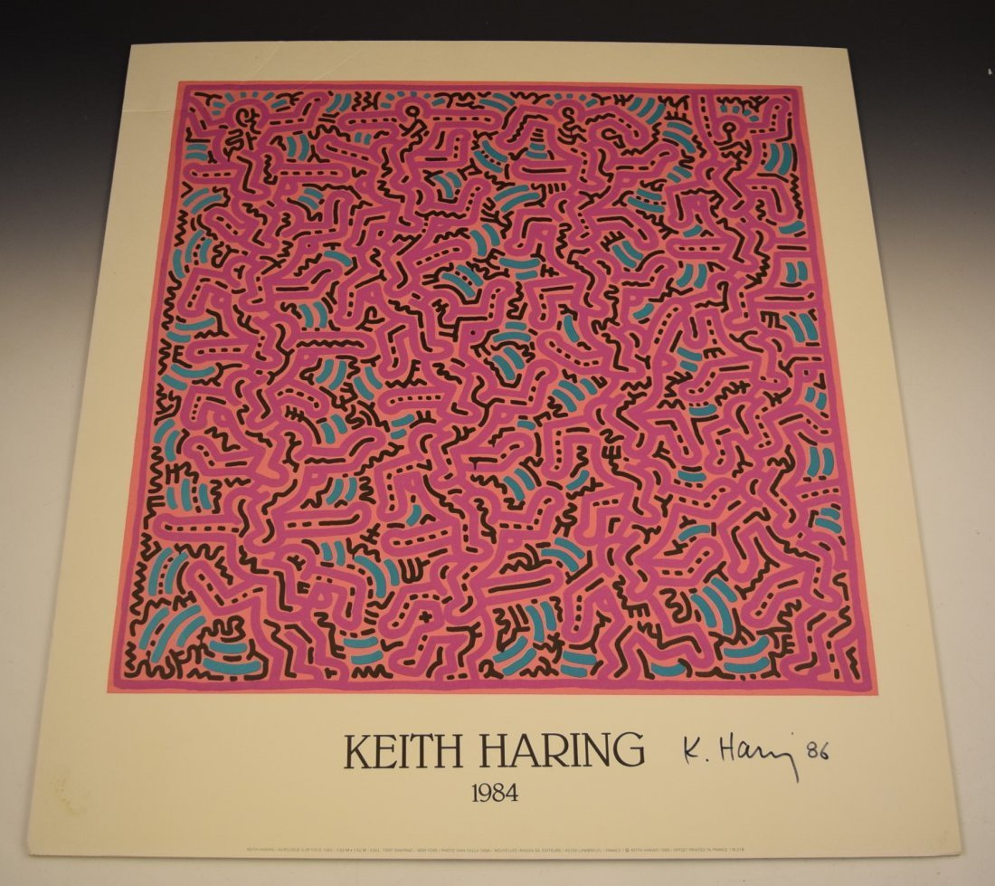 Keith Haring Signed Art Poster