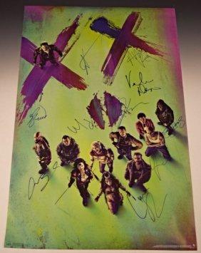 Suicide Squad Cast Signed Movie Poster