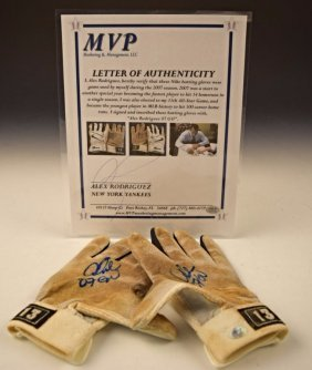 Alex Rodriguez Game Used Signed Gloves