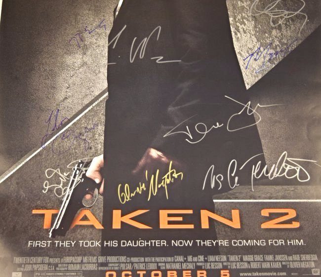 Taken 2 Cast Signed Movie Poster - 3