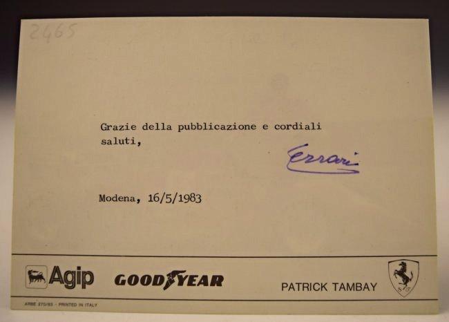 Enzo Ferrari Signed Postcard - 3