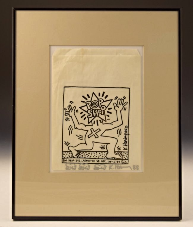 Keith Haring Signed Pop Shop Bag With Drawings