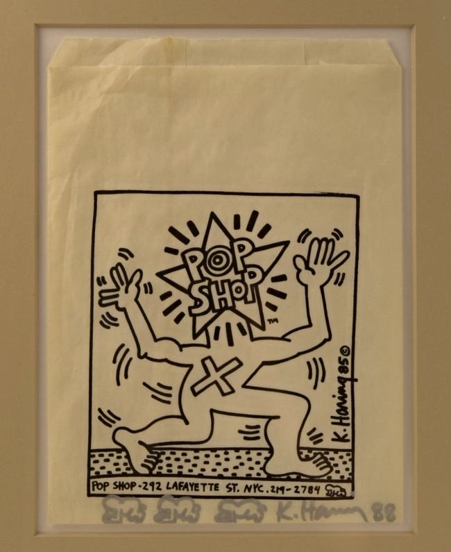 Keith Haring Signed Pop Shop Bag With Drawings - 2