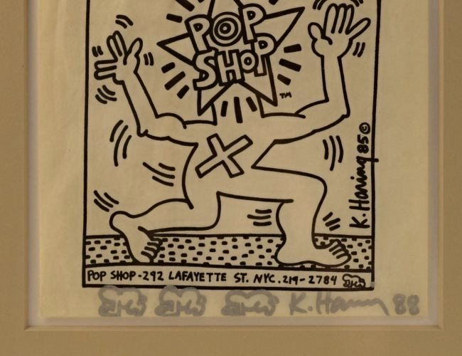 Keith Haring Signed Pop Shop Bag With Drawings - 3
