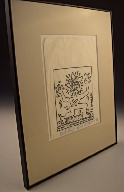 Keith Haring Signed Pop Shop Bag With Drawings - 4