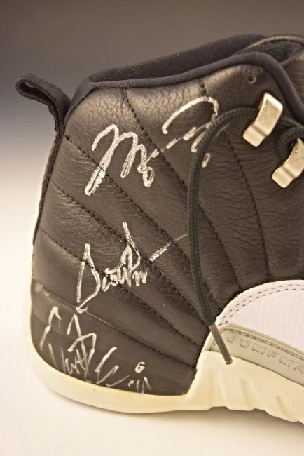 Michael Jordan Finals Game Worn Team Signed Shoe - 2