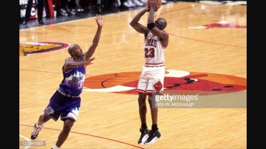 Michael Jordan Finals Game Worn Team Signed Shoe - 6