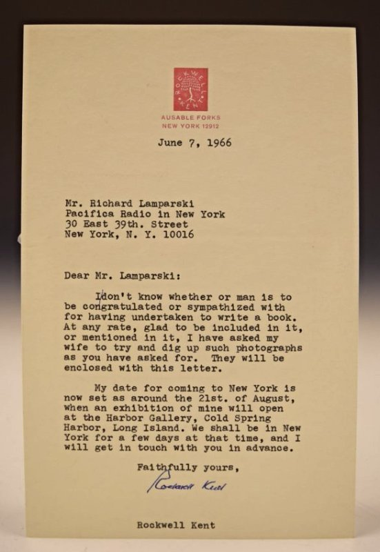 Rockwell Kent Signed Letter