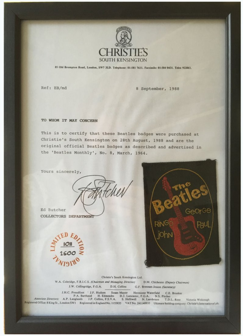 The Beatles Official Sew On Badge