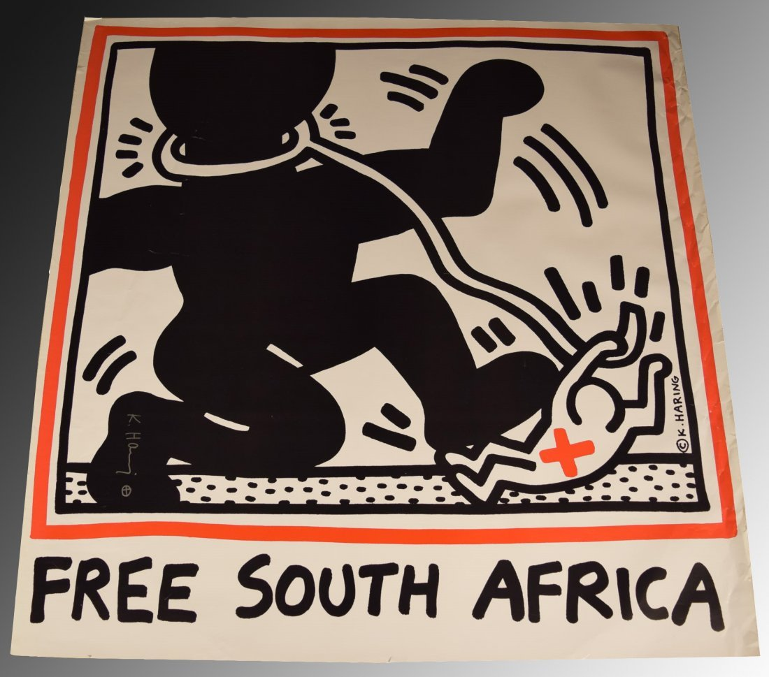 Keith Haring Free South Africa Signed Poster