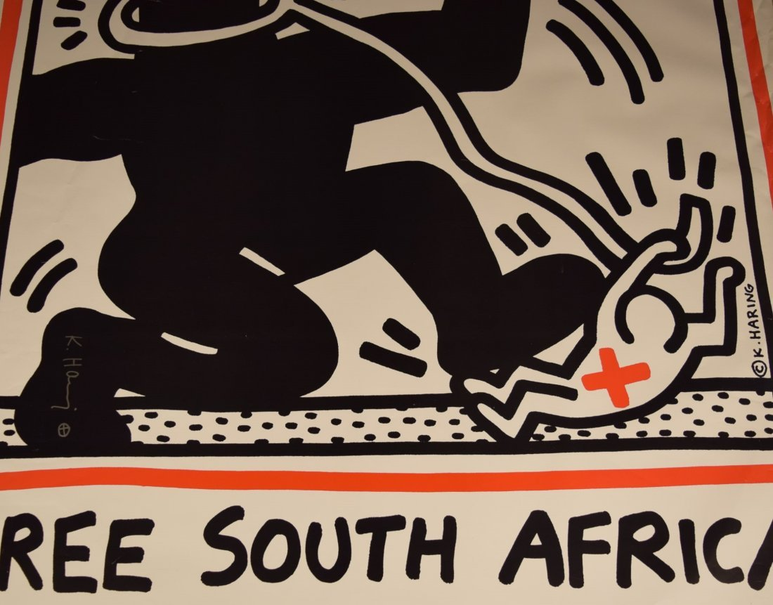 Keith Haring Free South Africa Signed Poster - 3