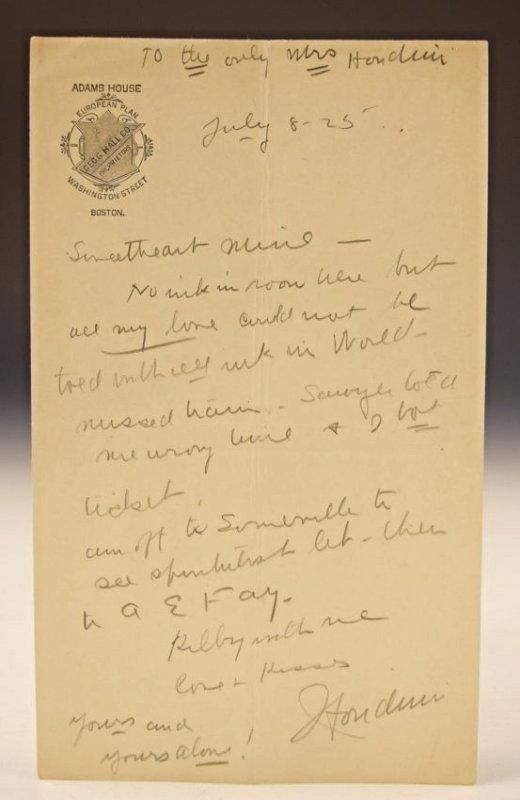 Harry Houdini Love Letter to Bess Houdini