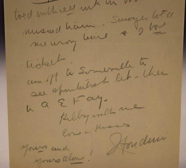 Harry Houdini Love Letter to Bess Houdini - 3