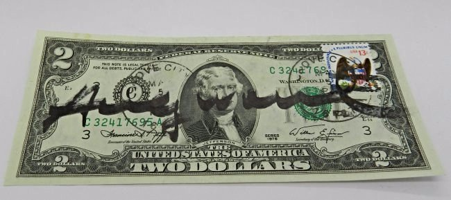 Andy Warhol Signed Two Dollar Bill - 2