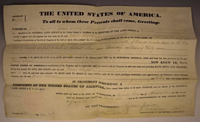 Andrew Jackson Signed Document