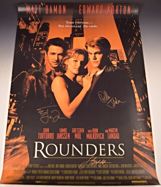 Rounders Cast Signed Movie Poster