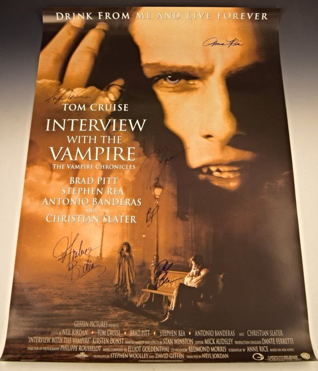 Interview With A Vampire Cast Signed Movie Poster