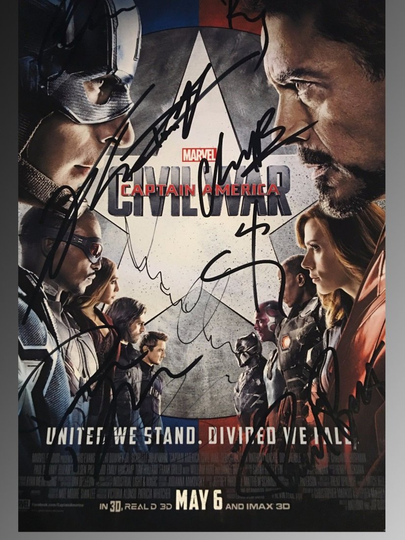 Captain America Cast Signed Movie Poster