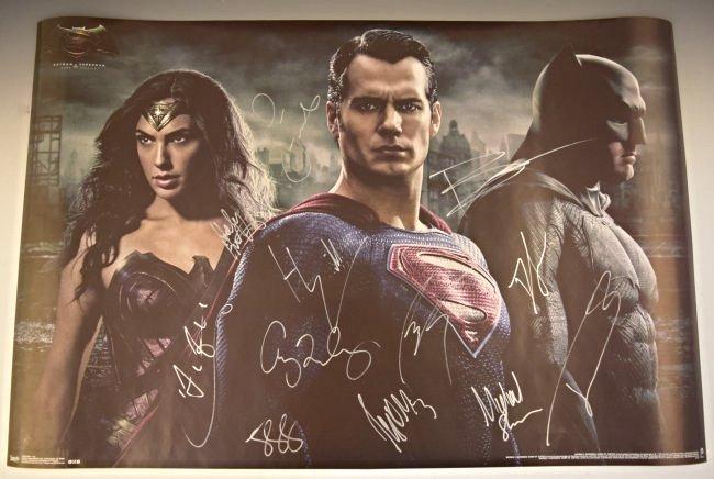 Batman VS Superman Cast Signed Movie Poster