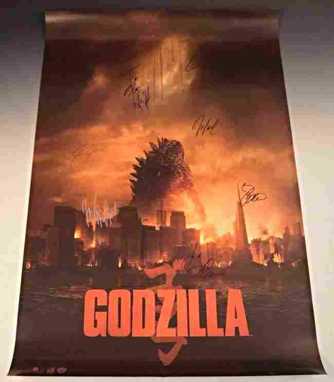 Godzilla Cast Signed Movie Poster