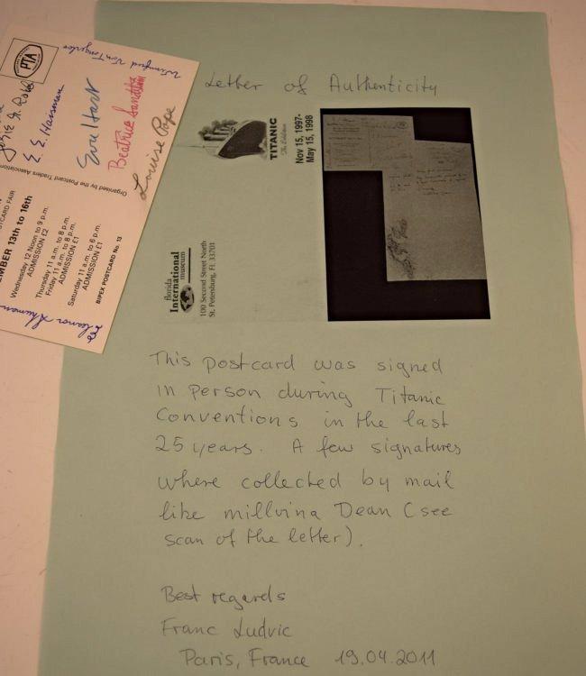 10 Signed Titanic Survivors Postcard - 4