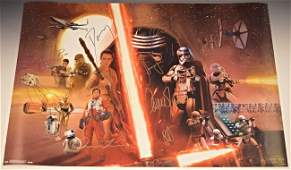 Star Wars The Force Awakens Cast Signed Poster