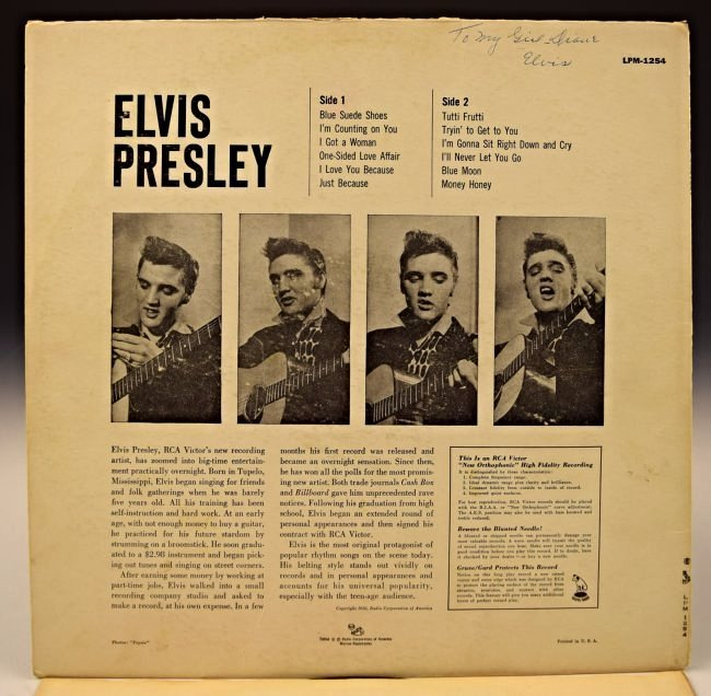 Elvis Presley Signed Album Cover - 2