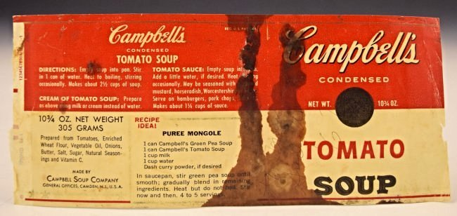 Andy Warhol Signed Soup Can Label