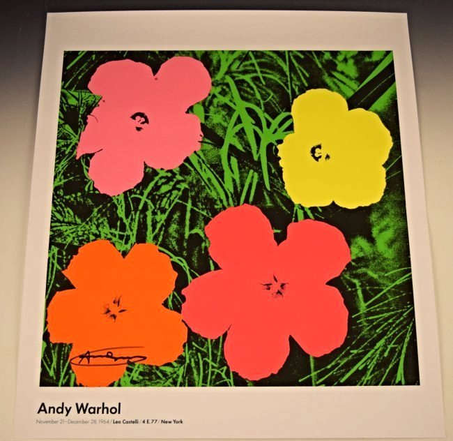 Andy Warhol Signed Flowers Poster