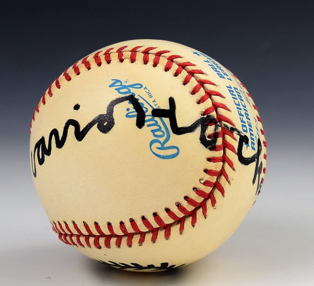 David Hockney Signed Baseball With Drawing