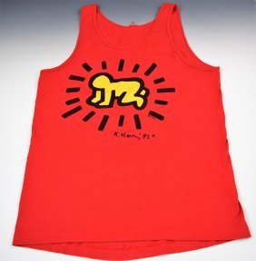 Keith Haring Signed Screenprint on T-Shirt