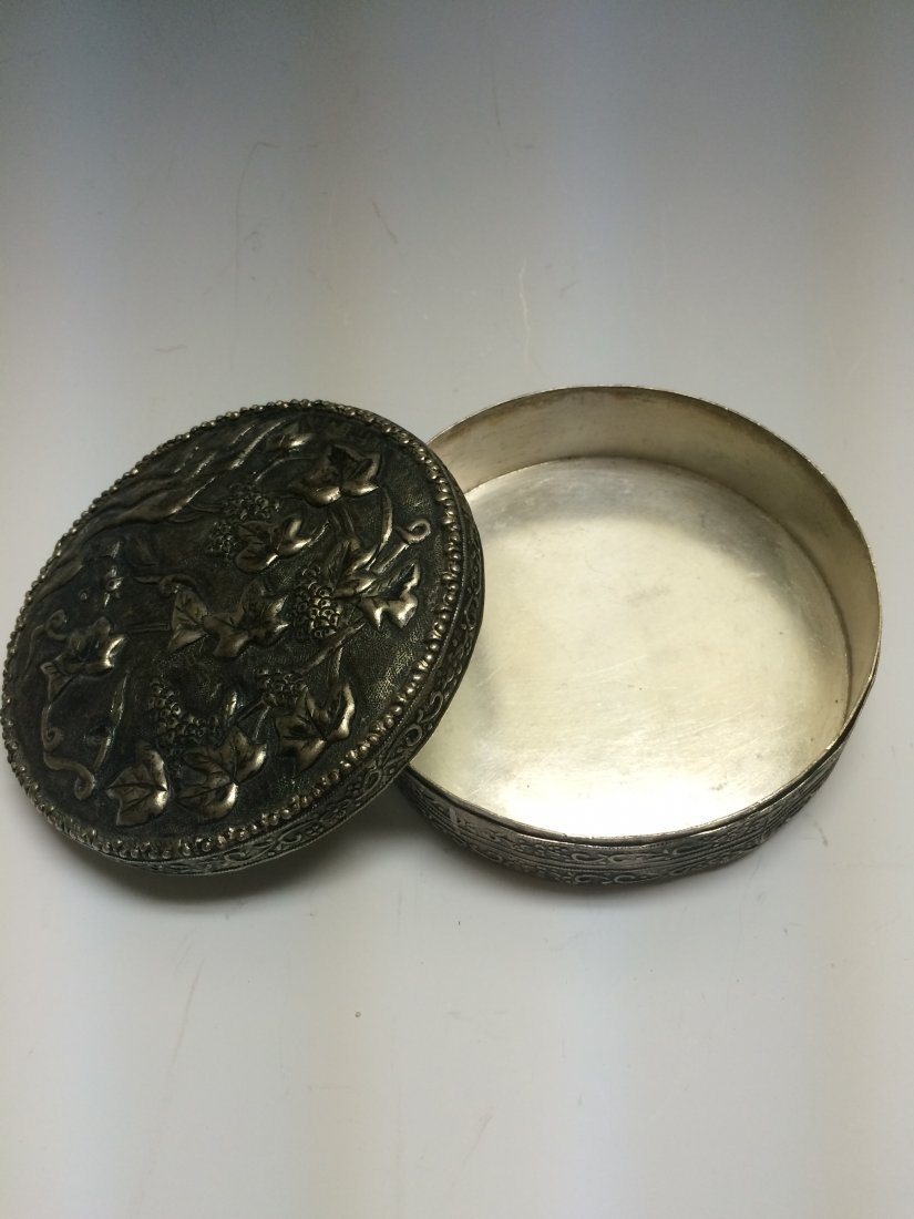 Silver Compact with Mirror
