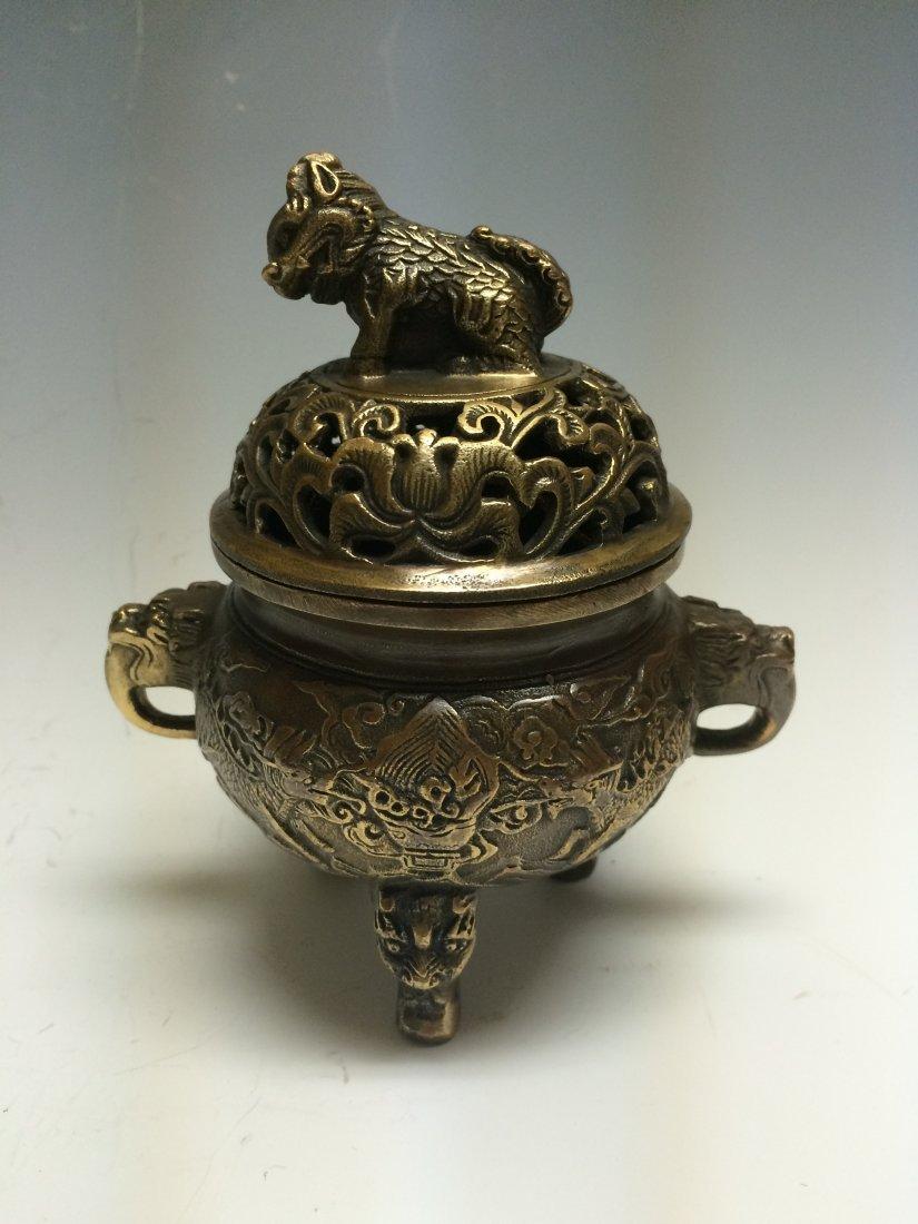 Antique Chinese Dragon Bronze Burner
