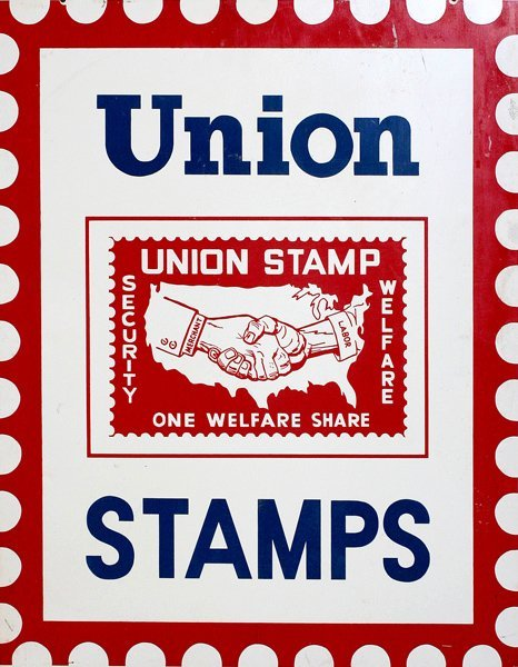 "704: ""Union Stamps"" Swinger Metal Sign"