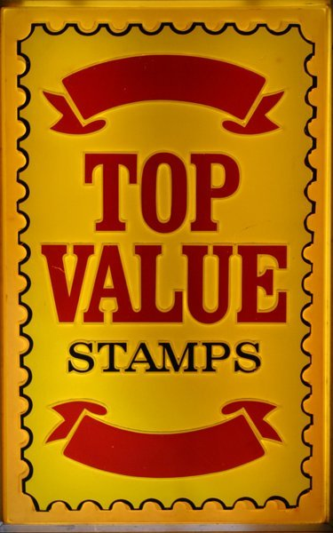 "705:"" Top Value Stamps'  Lighted Sign"