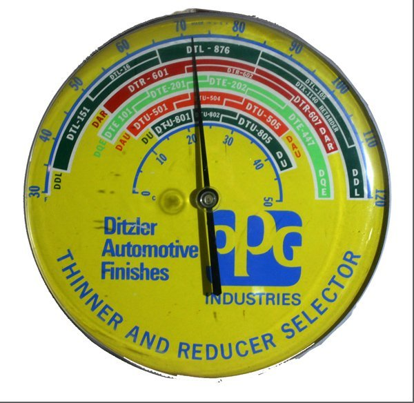 "709:"" Ditzler Automotive Finishes""  Thermometer Sign"