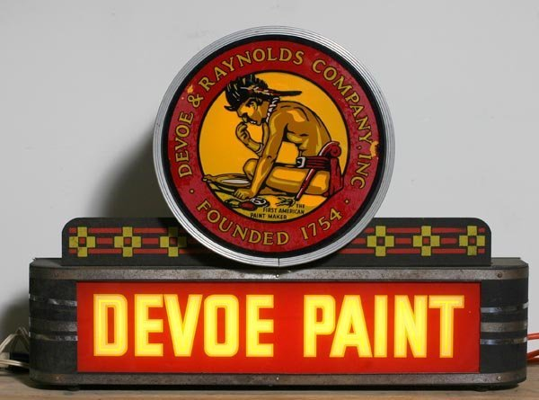 "722: "" Devoe and Raynolds"" Paint Neon  Lighted Sign"