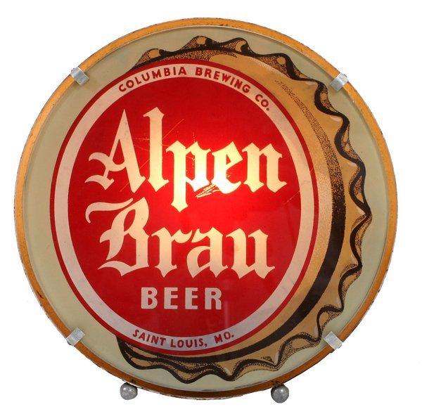 """1503: """"Alpen Brau""""  Beer Lighted Sign"""